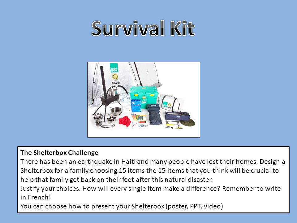 The Shelterbox Challenge There has been an earthquake in Haiti and many people have lost their homes. Design a Shelterbox for a family choosing 15 ite