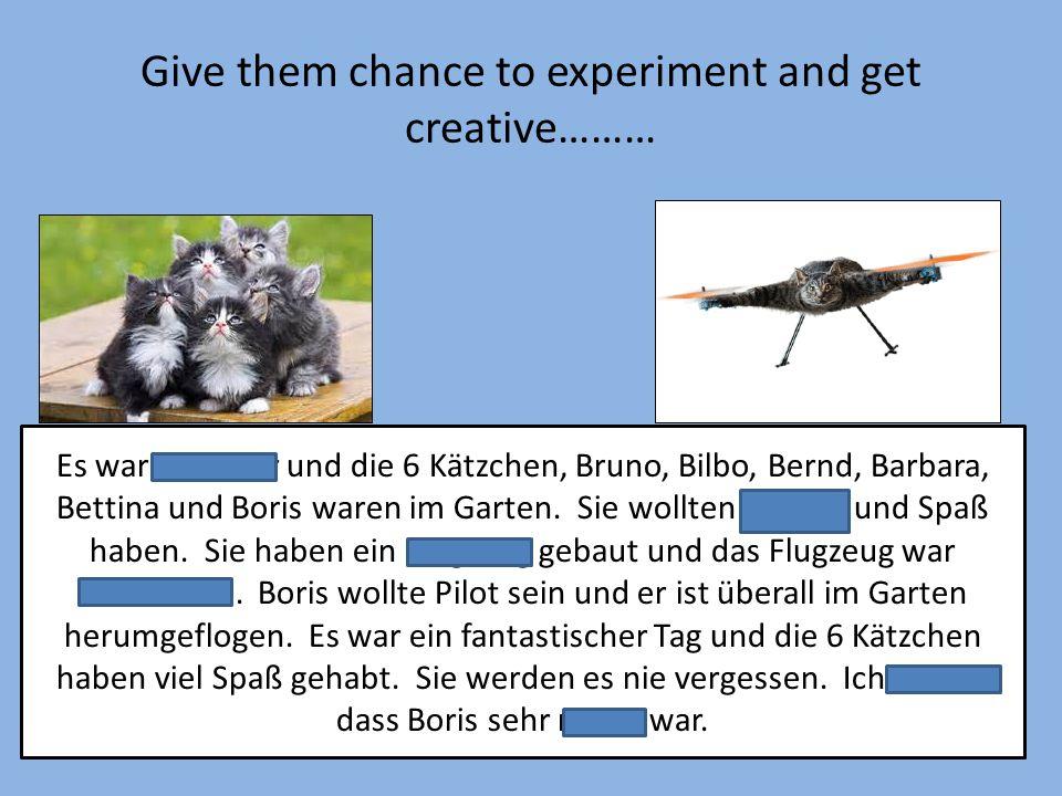 Give them chance to experiment and get creative……… Es war Sommer und die 6 Kätzchen, Bruno, Bilbo, Bernd, Barbara, Bettina und Boris waren im Garten.