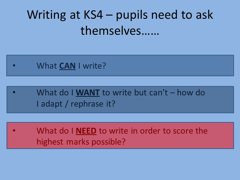 What CAN I write? What do I WANT to write but can't – how do I adapt / rephrase it? What do I NEED to write in order to score the highest marks possib