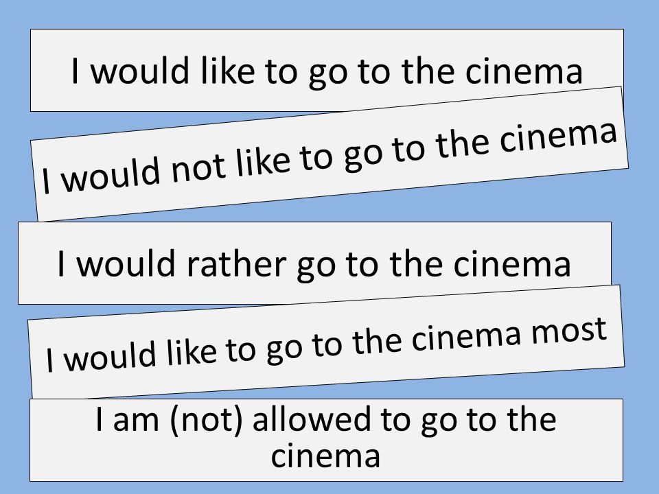 I would like to go to the cinema I would not like to go to the cinema I would rather go to the cinema I would like to go to the cinema most I am (not)