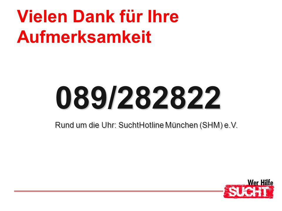 Vielen Dank für Ihre Aufmerksamkeit 089/282822 Rund um die Uhr: SuchtHotline München (SHM) e.V.