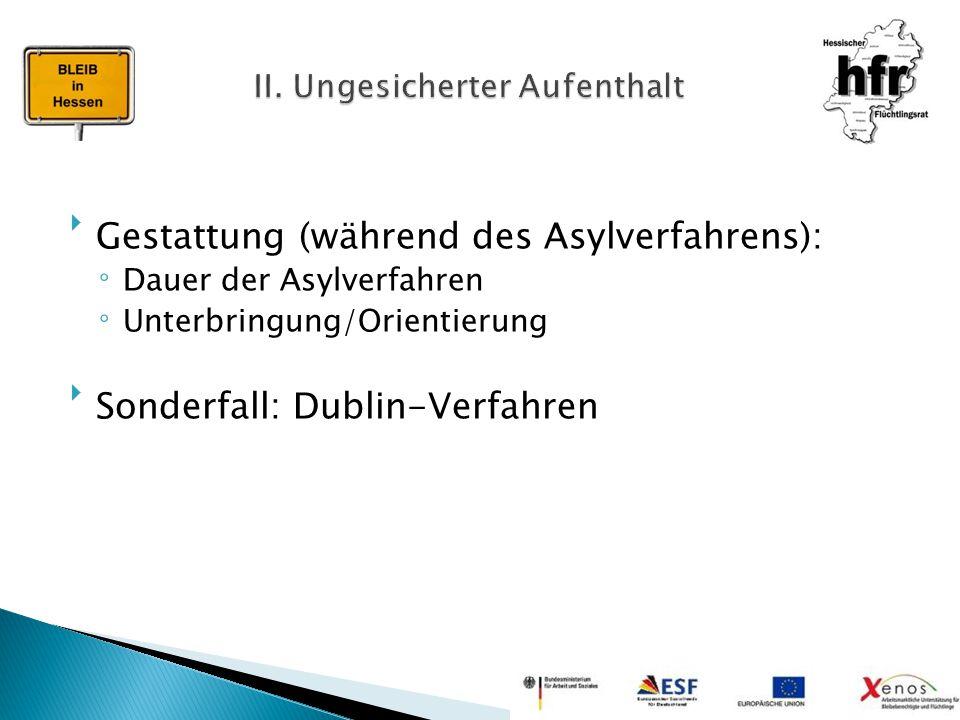 Gestattung (während des Asylverfahrens): ◦Dauer der Asylverfahren ◦Unterbringung/Orientierung Sonderfall: Dublin-Verfahren