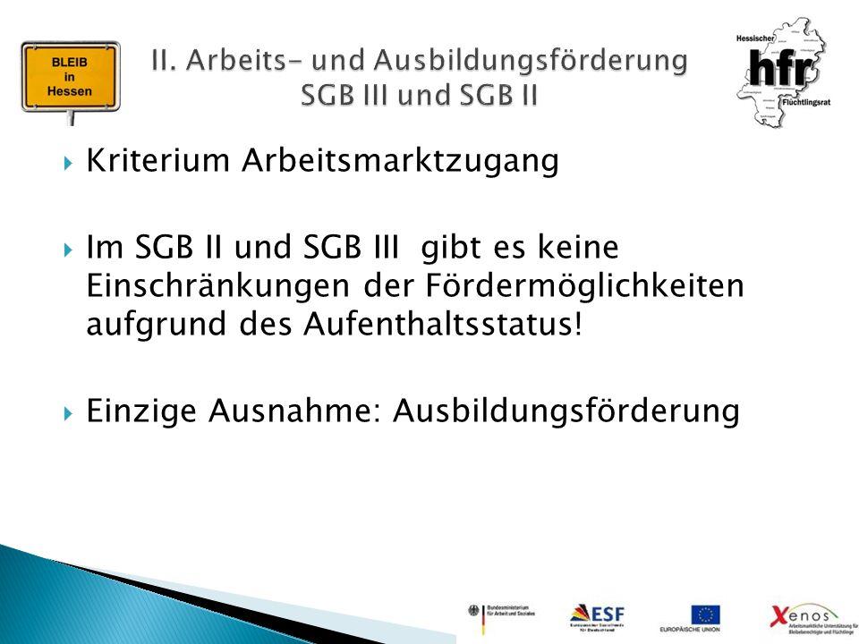  Kriterium Arbeitsmarktzugang  Im SGB II und SGB III gibt es keine Einschränkungen der Fördermöglichkeiten aufgrund des Aufenthaltsstatus!  Einzige