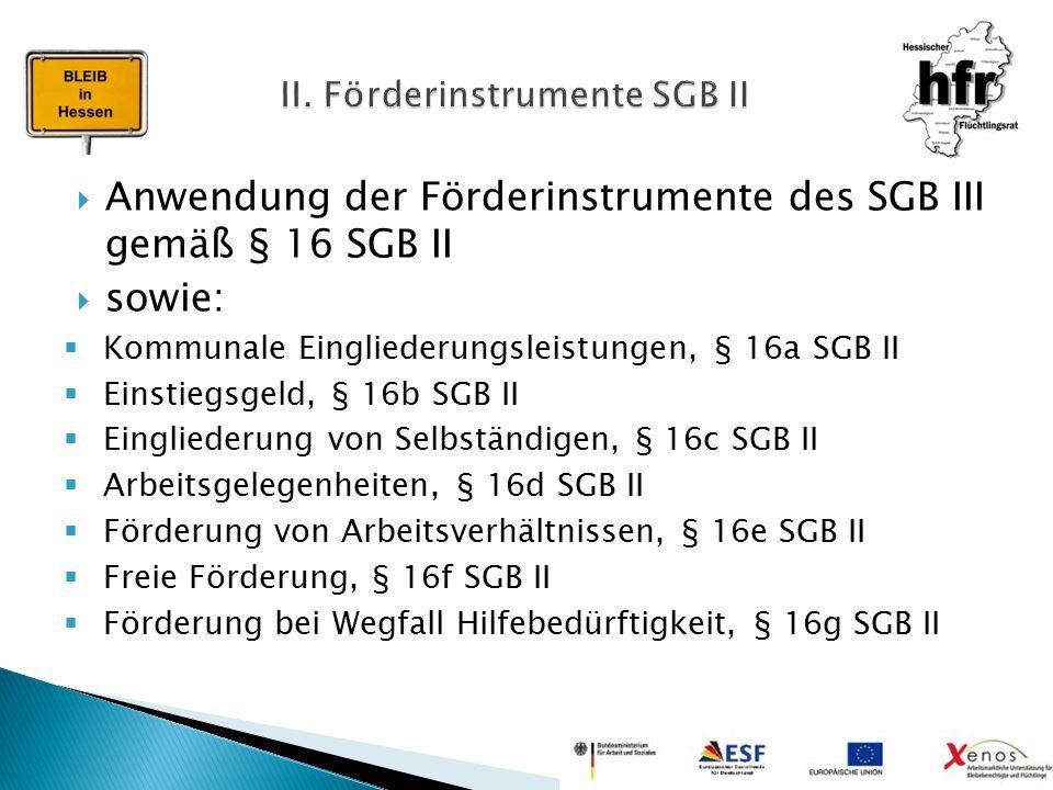 Anwendung der Förderinstrumente des SGB III gemäß § 16 SGB II  sowie:  Kommunale Eingliederungsleistungen, § 16a SGB II  Einstiegsgeld, § 16b SGB