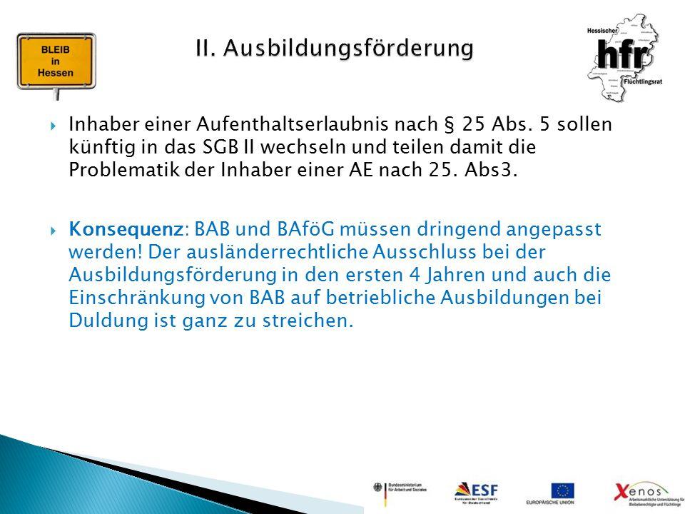 Inhaber einer Aufenthaltserlaubnis nach § 25 Abs. 5 sollen künftig in das SGB II wechseln und teilen damit die Problematik der Inhaber einer AE nach