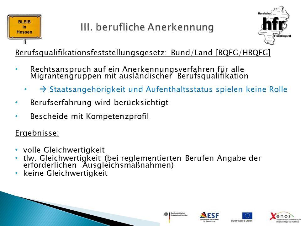 Berufsqualifikationsfeststellungsgesetz: Bund/Land [BQFG/HBQFG] Rechtsanspruch auf ein Anerkennungsverfahren für alle Migrantengruppen mit ausländisch