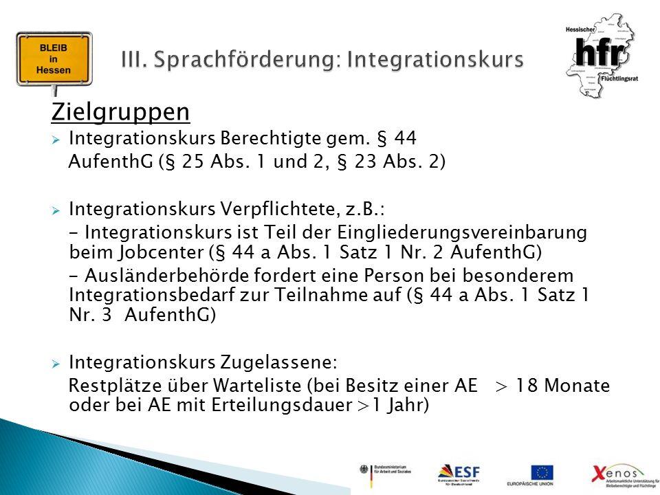 Zielgruppen  Integrationskurs Berechtigte gem. § 44 AufenthG (§ 25 Abs. 1 und 2, § 23 Abs. 2)  Integrationskurs Verpflichtete, z.B.: - Integrationsk
