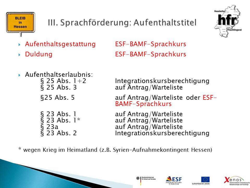  Aufenthaltsgestattung ESF-BAMF-Sprachkurs  Duldung ESF-BAMF-Sprachkurs  Aufenthaltserlaubnis: § 25 Abs. 1+2Integrationskursberechtigung § 25 Abs.