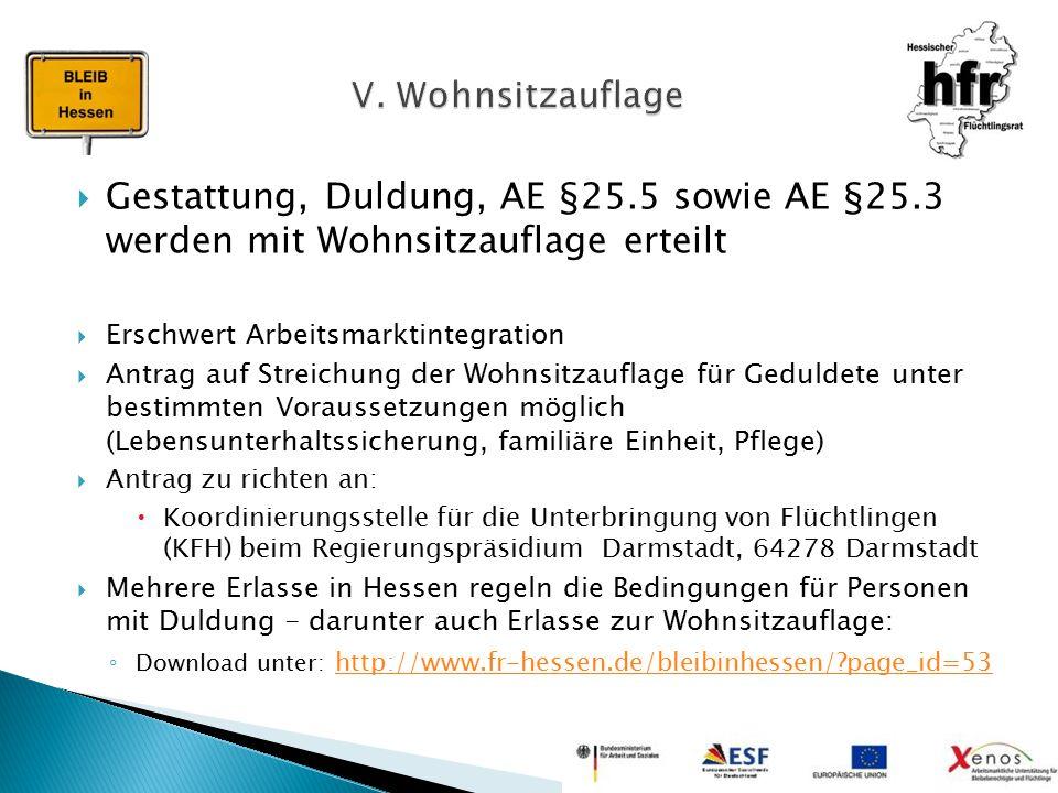  Gestattung, Duldung, AE §25.5 sowie AE §25.3 werden mit Wohnsitzauflage erteilt  Erschwert Arbeitsmarktintegration  Antrag auf Streichung der Wohn