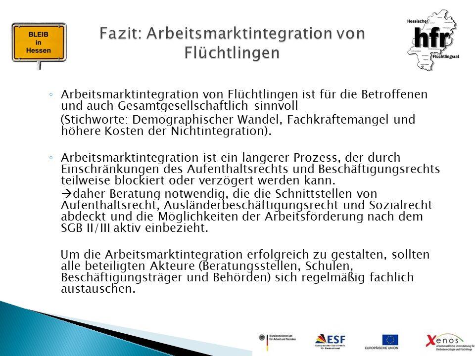 ◦ Arbeitsmarktintegration von Flüchtlingen ist für die Betroffenen und auch Gesamtgesellschaftlich sinnvoll (Stichworte: Demographischer Wandel, Fachk