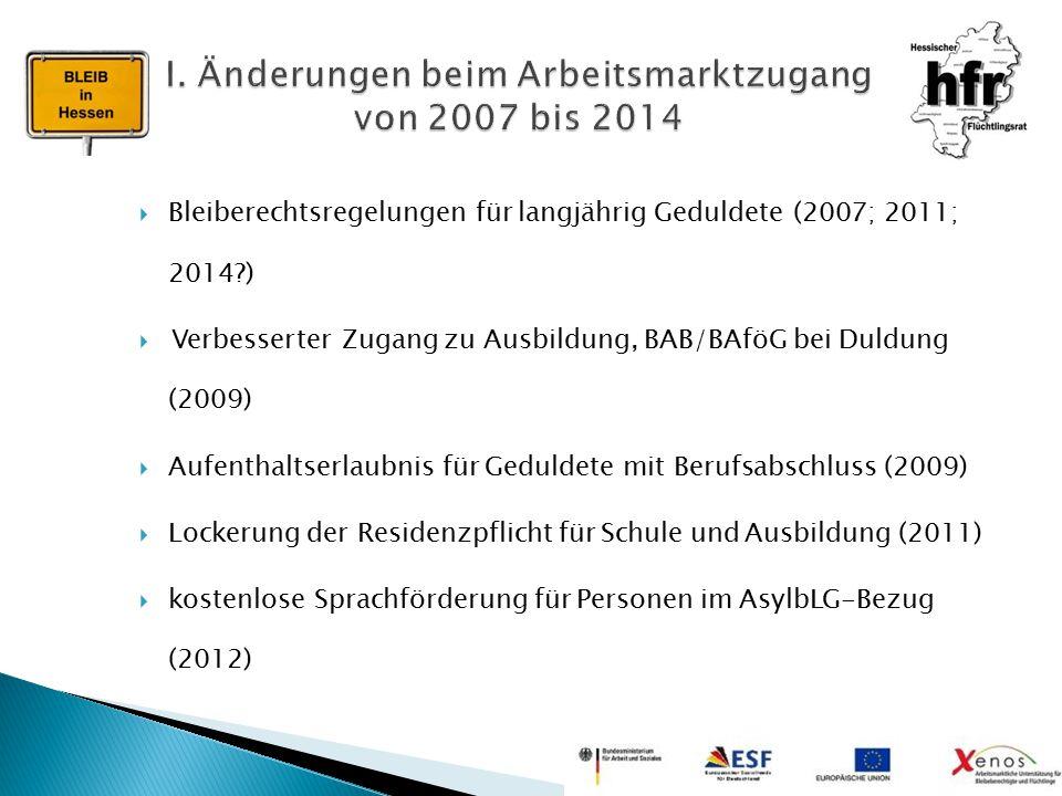  Bleiberechtsregelungen für langjährig Geduldete (2007; 2011; 2014?)  Verbesserter Zugang zu Ausbildung, BAB/BAföG bei Duldung (2009)  Aufenthaltse