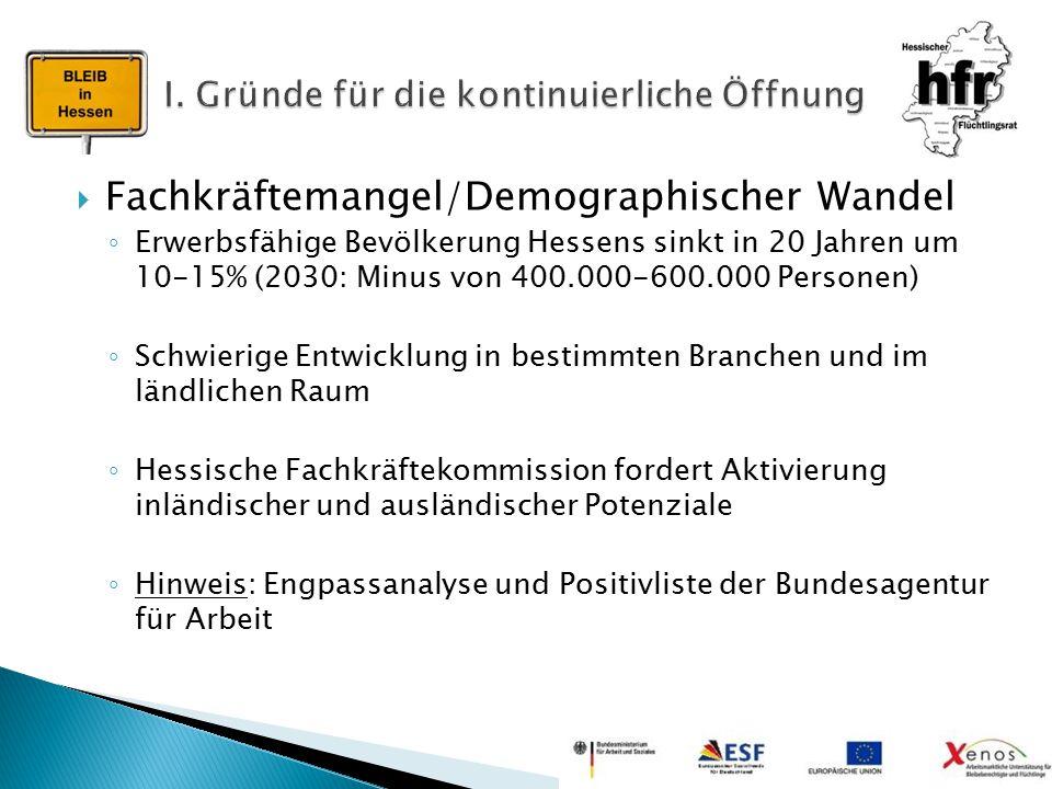  Fachkräftemangel/Demographischer Wandel ◦ Erwerbsfähige Bevölkerung Hessens sinkt in 20 Jahren um 10-15% (2030: Minus von 400.000-600.000 Personen)