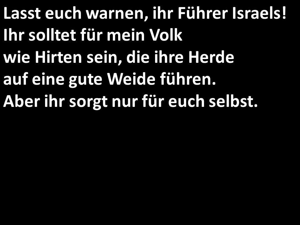 Lasst euch warnen, ihr Führer Israels! Ihr solltet für mein Volk wie Hirten sein, die ihre Herde auf eine gute Weide führen. Aber ihr sorgt nur für eu
