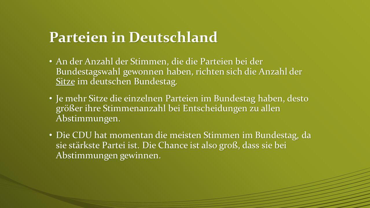 Laut dem Wahlergebnis von 2013 werden wir also momentan regiert von den 4 stärksten Parteien: Der UNION (Zusammenschluss der Parteien CDU und CSU) Der UNION (Zusammenschluss der Parteien CDU und CSU) Der SPD Der SPD Der Linken Der Linken Und den Grünen Und den Grünen