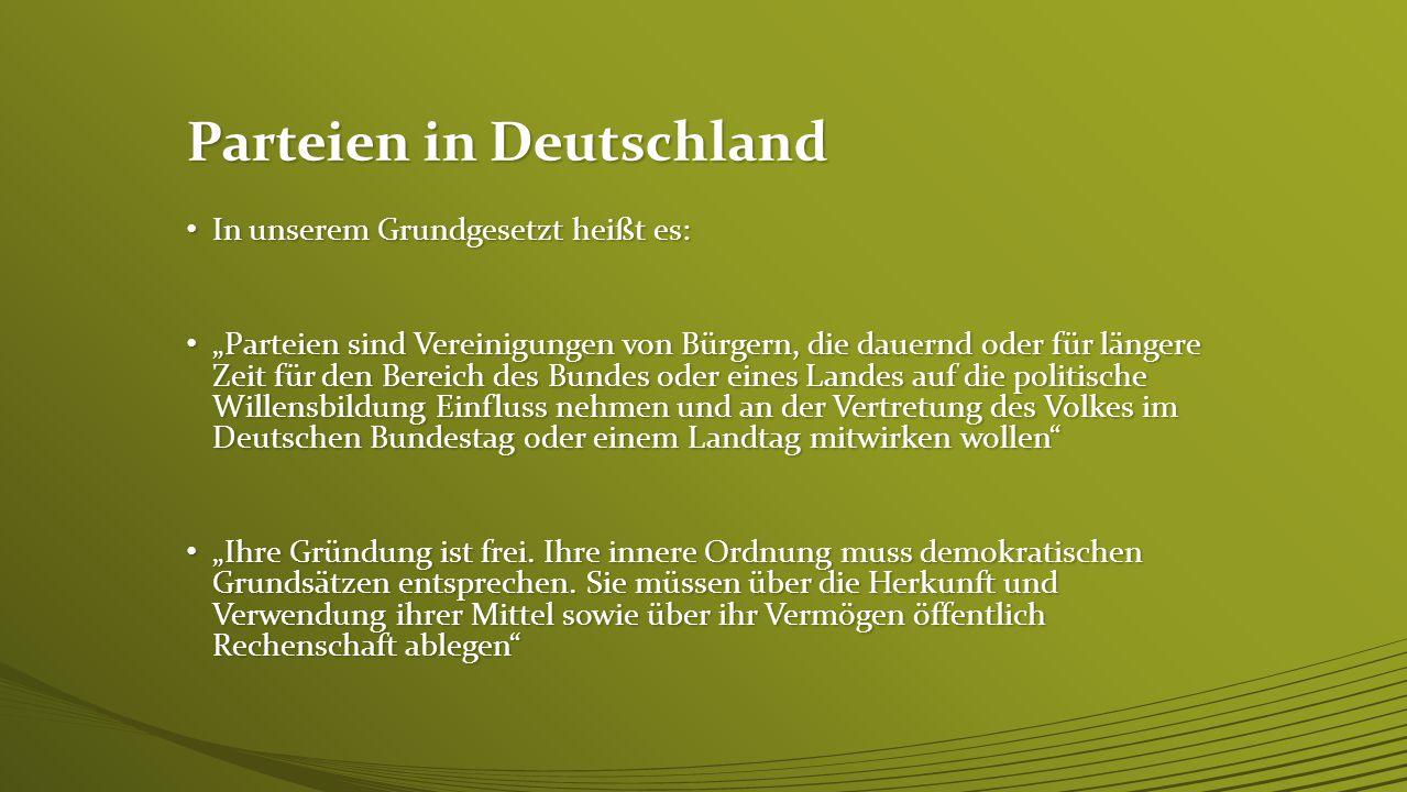 In der Parteienlandschaft Deutschland bewegen sich mehrere Parteien Seite an Seite. In der Parteienlandschaft Deutschland bewegen sich mehrere Parteie