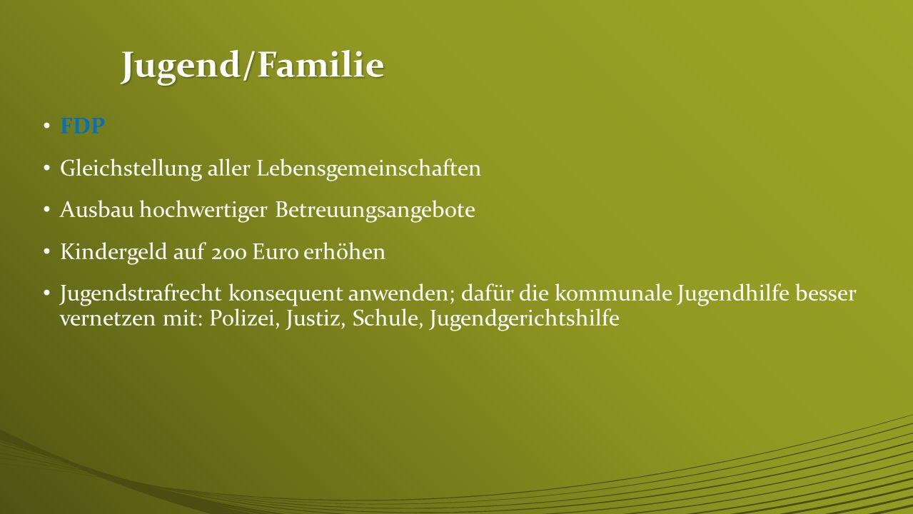 Jugend/Familie SPD Rechtsanspruch auf Ganztagsbetreuung einführen eine eigenständige Jugendpolitik schaffen Kinderrechte ins Grundgesetz wir brauchen