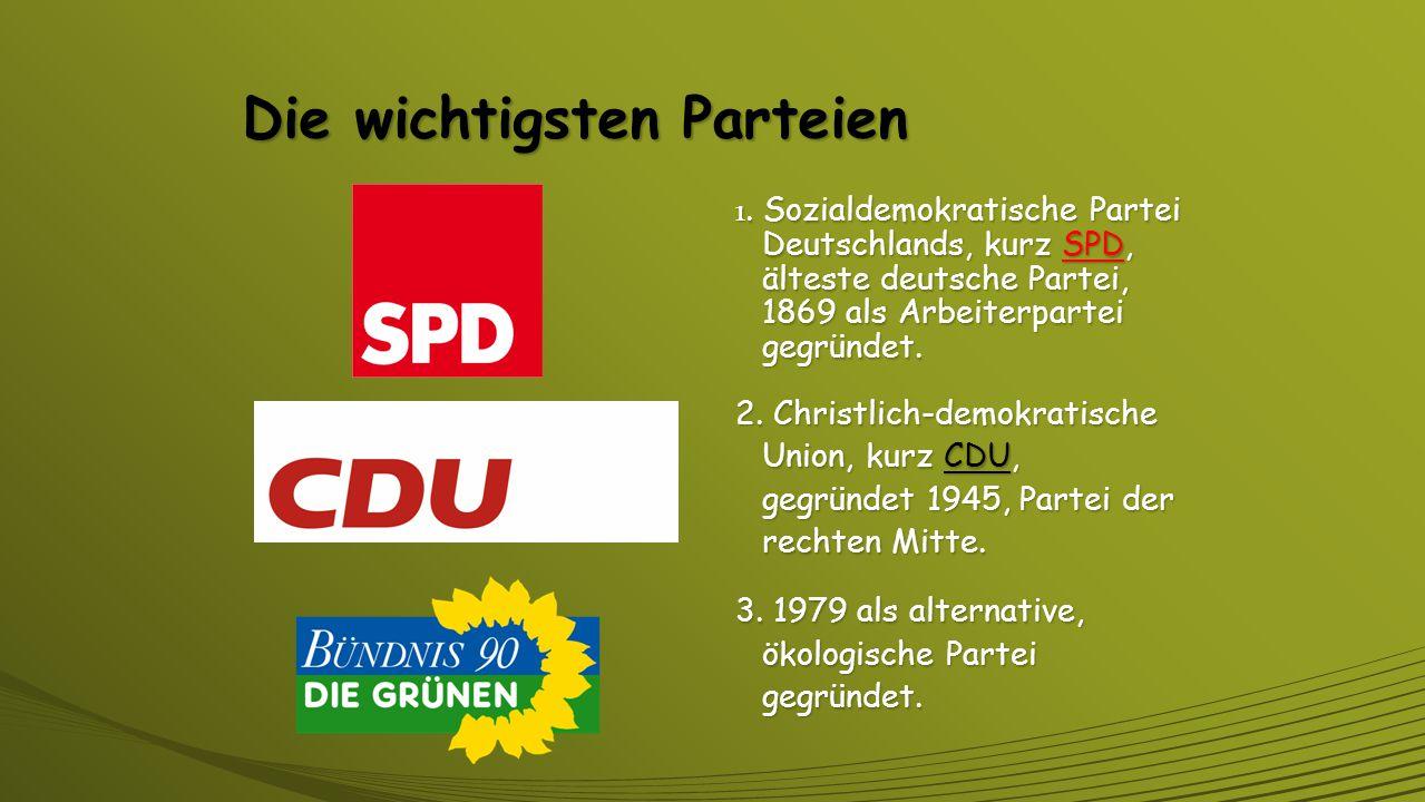 Aufgaben der Parteien Das Parteiengesetz von 1967 schreibt den Parteien folgende Aufgaben zu: Das Parteiengesetz von 1967 schreibt den Parteien folgende Aufgaben zu: Sie vertreten die Bürger mit ihren Abgeordneten im Bundestag und setzen sich für Interessen und Ziele ein.