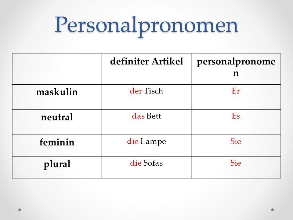 Personalpronomen definiter Artikelpersonalpronome n maskulin der TischEr neutral das BettEs feminin die LampeSie plural die SofasSie