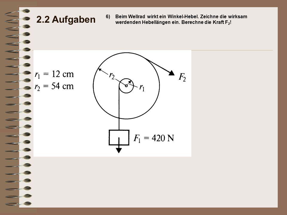 2.2 Aufgaben 6)Beim Wellrad wirkt ein Winkel-Hebel. Zeichne die wirksam werdenden Hebellängen ein. Berechne die Kraft F 2 !