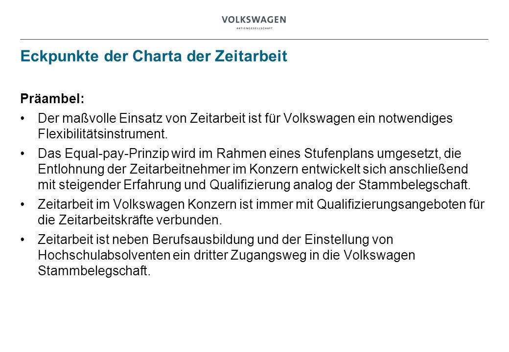 Eckpunkte der Charta der Zeitarbeit Präambel: Der maßvolle Einsatz von Zeitarbeit ist für Volkswagen ein notwendiges Flexibilitätsinstrument. Das Equa