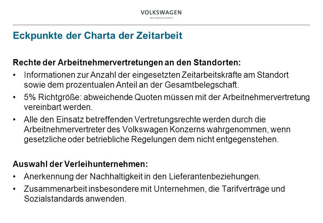 Eckpunkte der Charta der Zeitarbeit Rechte der Arbeitnehmervertretungen an den Standorten: Informationen zur Anzahl der eingesetzten Zeitarbeitskräfte am Standort sowie dem prozentualen Anteil an der Gesamtbelegschaft.