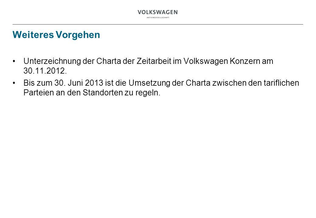 Weiteres Vorgehen Unterzeichnung der Charta der Zeitarbeit im Volkswagen Konzern am 30.11.2012. Bis zum 30. Juni 2013 ist die Umsetzung der Charta zwi