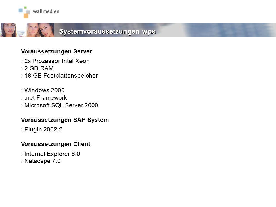 Voraussetzungen Server : 2x Prozessor Intel Xeon : 2 GB RAM : 18 GB Festplattenspeicher : Windows 2000 :.net Framework : Microsoft SQL Server 2000 Vor