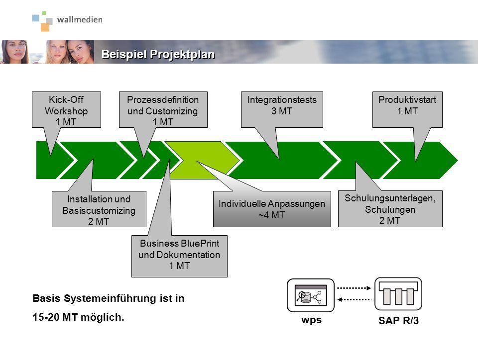SAP R/3 Installation und Basiscustomizing 2 MT Kick-Off Workshop 1 MT Prozessdefinition und Customizing 1 MT Business BluePrint und Dokumentation 1 MT