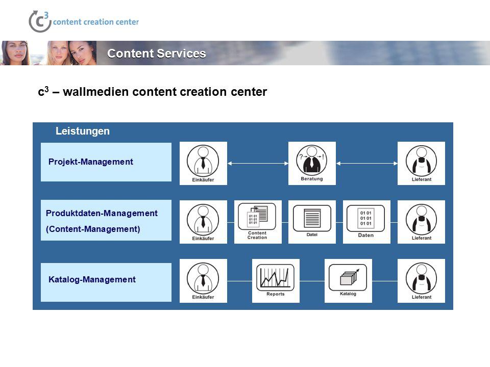 Content Services Leistungen Projekt-Management Produktdaten-Management (Content-Management) Katalog-Management c 3 – wallmedien content creation cente