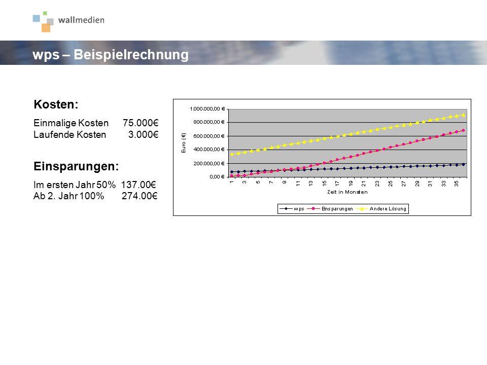 Kosten: Einmalige Kosten 75.000€ Laufende Kosten 3.000€ Einsparungen: Im ersten Jahr 50% 137.00€ Ab 2. Jahr 100% 274.00€ wps – Beispielrechnung