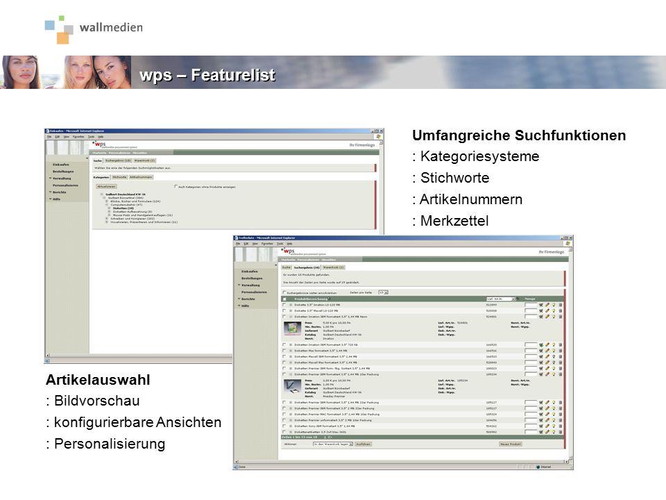 Umfangreiche Suchfunktionen : Kategoriesysteme : Stichworte : Artikelnummern : Merkzettel Artikelauswahl : Bildvorschau : konfigurierbare Ansichten :