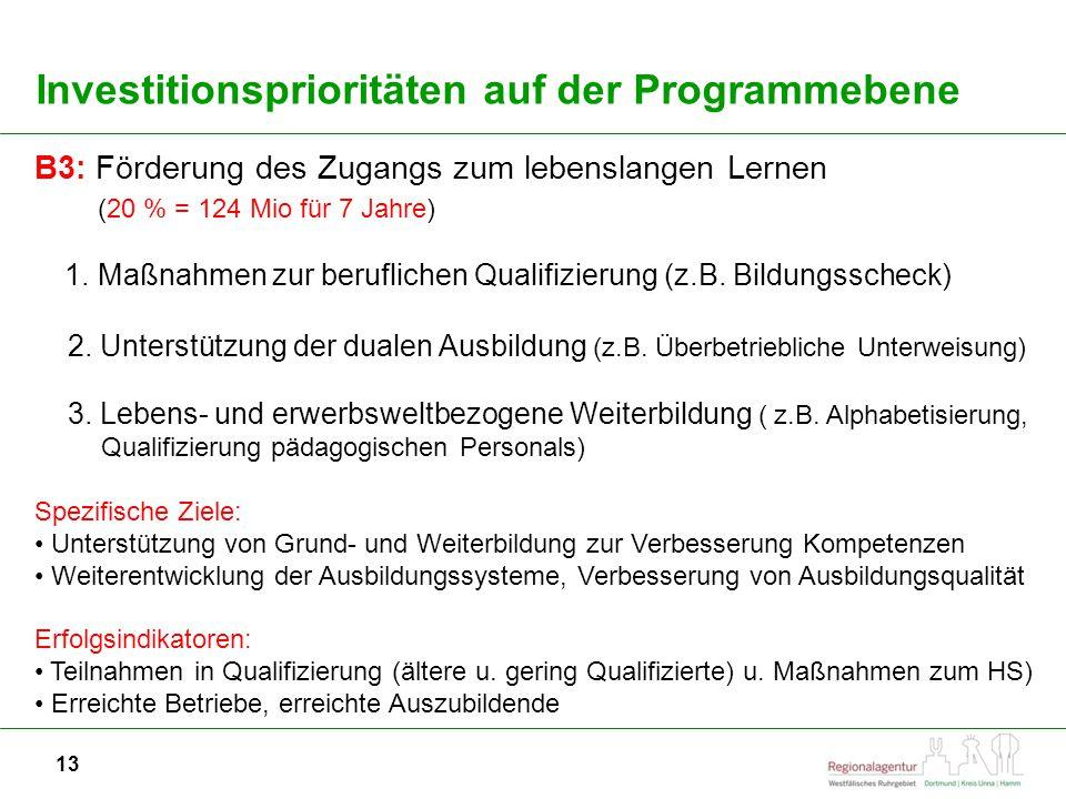 13 Investitionsprioritäten auf der Programmebene B3: Förderung des Zugangs zum lebenslangen Lernen (20 % = 124 Mio für 7 Jahre) 1.