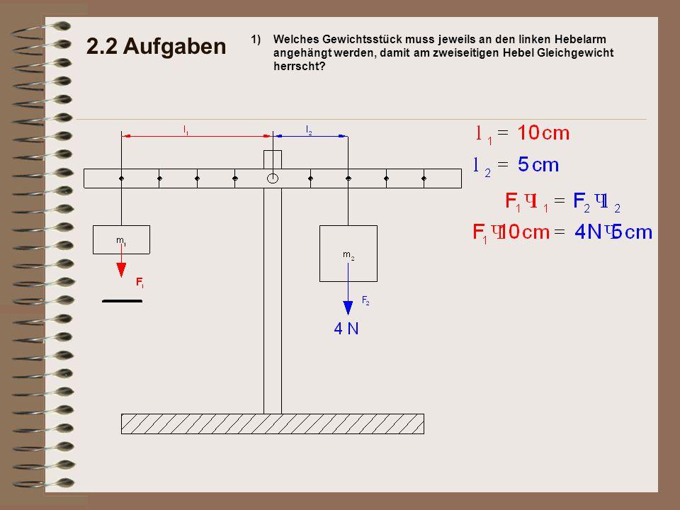 2.2 Aufgaben 1)Welches Gewichtsstück muss jeweils an den linken Hebelarm angehängt werden, damit am zweiseitigen Hebel Gleichgewicht herrscht?