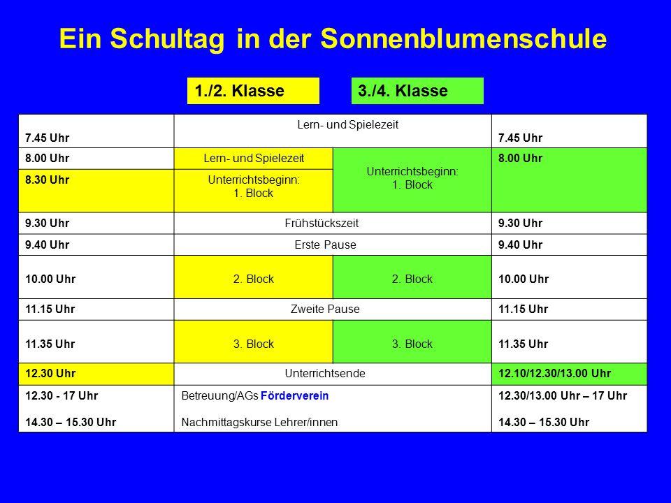 Ein Schultag in der Sonnenblumenschule 7.45 Uhr Lern- und Spielezeit 7.45 Uhr 8.00 UhrLern- und Spielezeit Unterrichtsbeginn: 1. Block 8.00 Uhr 8.30 U