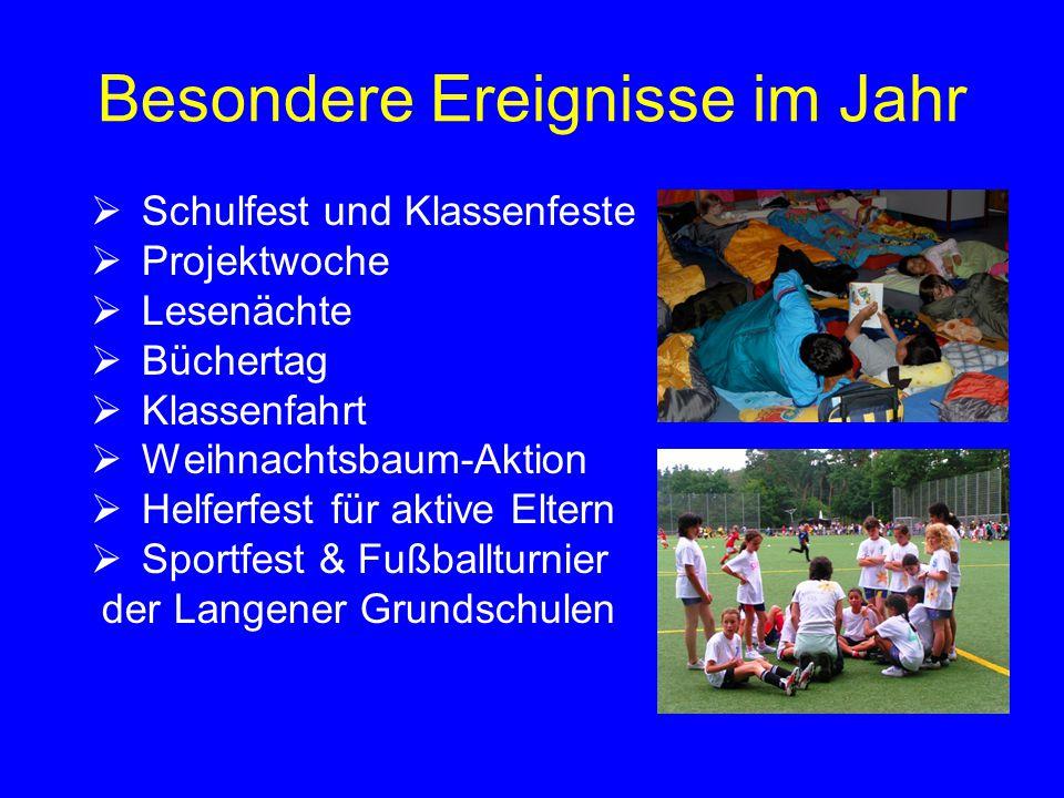 Besondere Ereignisse im Jahr  Schulfest und Klassenfeste  Projektwoche  Lesenächte  Büchertag  Klassenfahrt  Weihnachtsbaum-Aktion  Helferfest