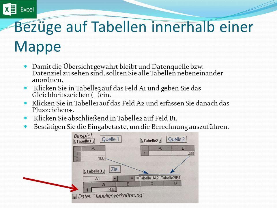 Bezüge auf Tabellen innerhalb einer Mappe Damit die Übersicht gewahrt bleibt und Datenquelle bzw.