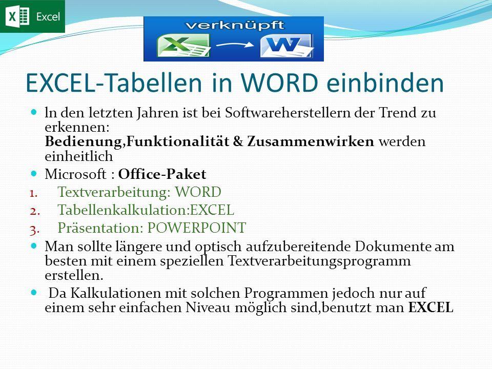 EXCEL-Tabellen in WORD einbinden ln den letzten Jahren ist bei Softwareherstellern der Trend zu erkennen: Bedienung,Funktionalität & Zusammenwirken werden einheitlich Microsoft : Office-Paket 1.