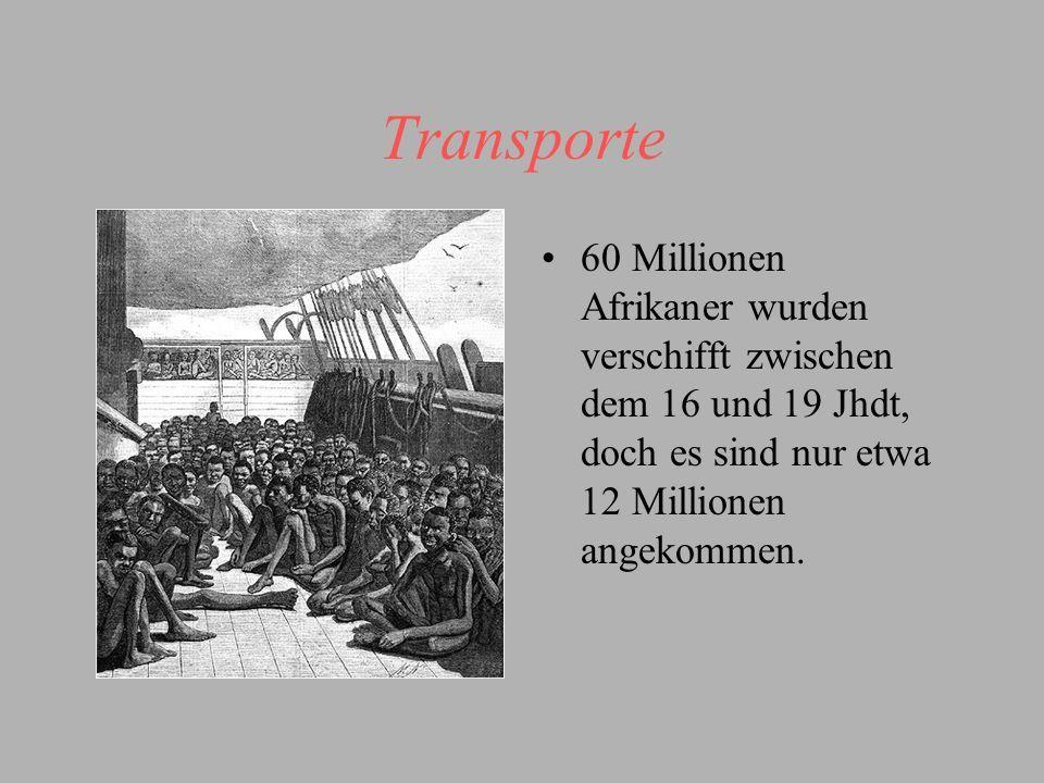 Transporte 60 Millionen Afrikaner wurden verschifft zwischen dem 16 und 19 Jhdt, doch es sind nur etwa 12 Millionen angekommen.