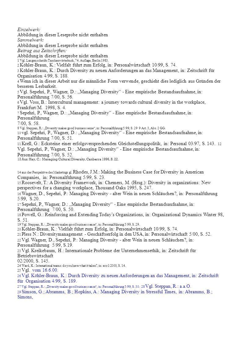 Einzelwerk: Abbildung in dieser Leseprobe nicht enthalten Sammelwerk: Abbildung in dieser Leseprobe nicht enthalten Beitrag aus Zeitschriften: Abbildung in dieser Leseprobe nicht enthalten 1 Vgl.