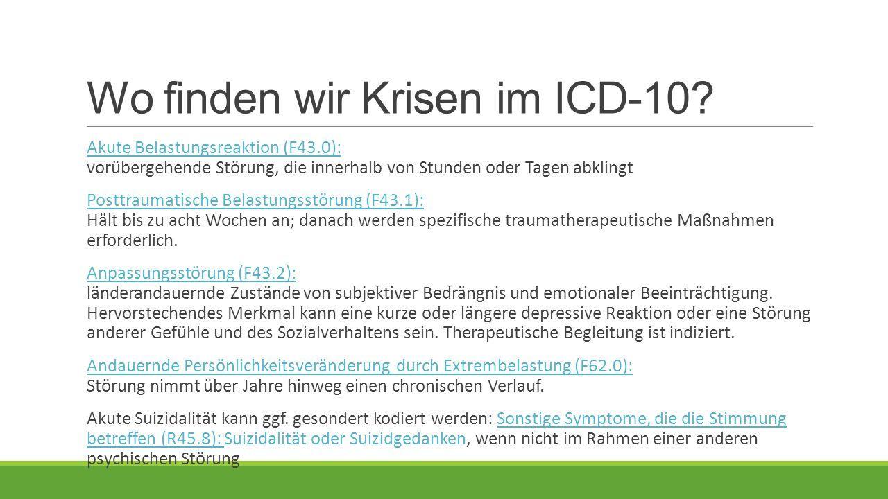 Wo finden wir Krisen im ICD-10.