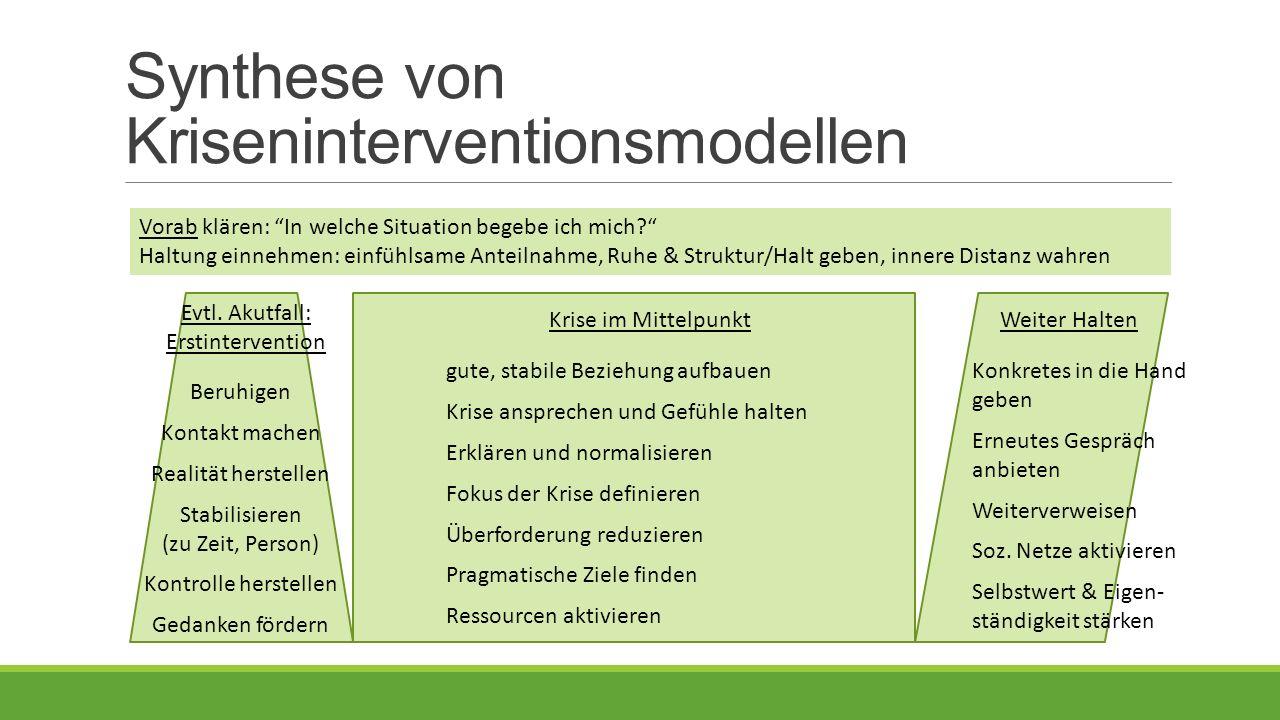 Synthese von Kriseninterventionsmodellen Vorab klären: In welche Situation begebe ich mich Haltung einnehmen: einfühlsame Anteilnahme, Ruhe & Struktur/Halt geben, innere Distanz wahren Evtl.