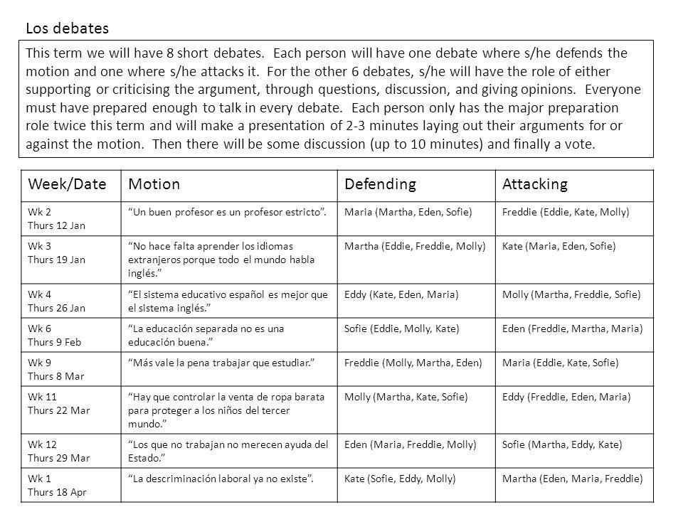 Los debates This term we will have 8 short debates.