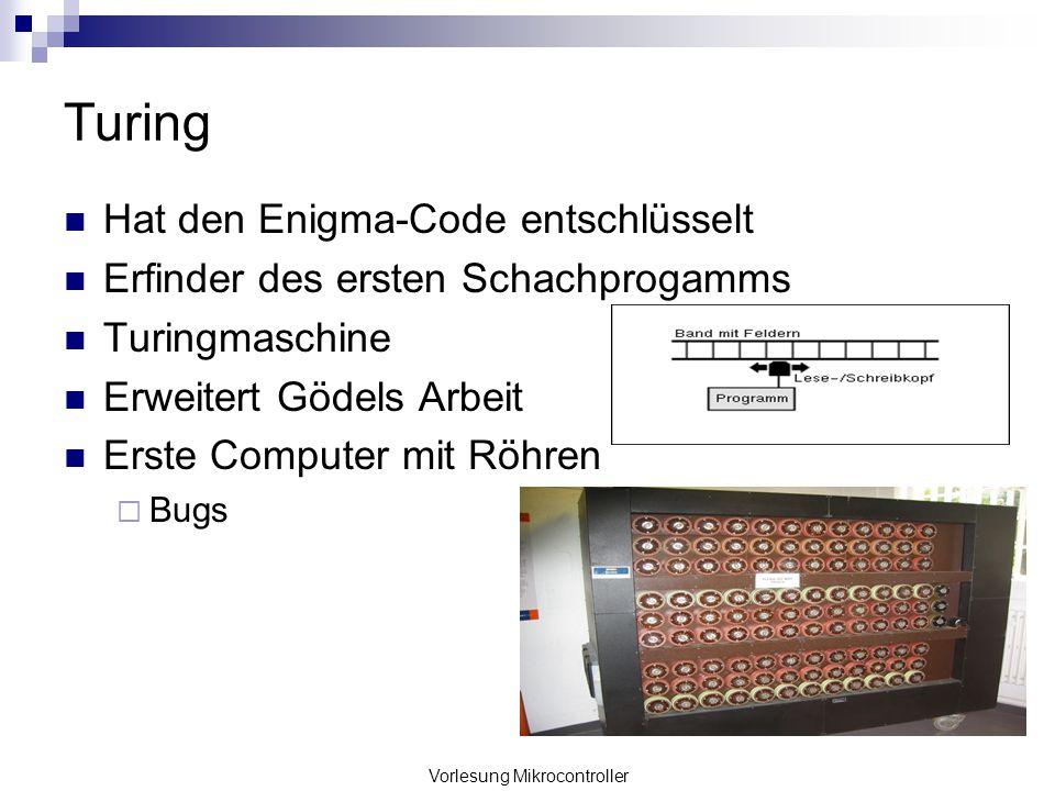 Vorlesung Mikrocontroller Turing Hat den Enigma-Code entschlüsselt Erfinder des ersten Schachprogamms Turingmaschine Erweitert Gödels Arbeit Erste Com
