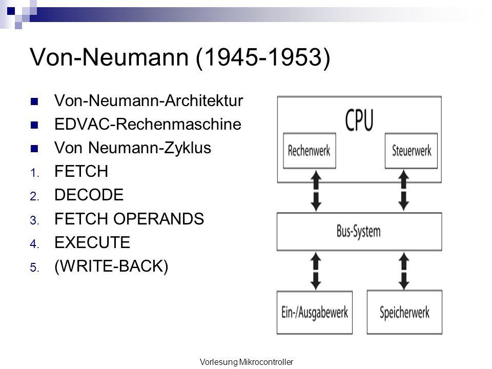 Vorlesung Mikrocontroller Von-Neumann (1945-1953) Von-Neumann-Architektur EDVAC-Rechenmaschine Von Neumann-Zyklus 1. FETCH 2. DECODE 3. FETCH OPERANDS