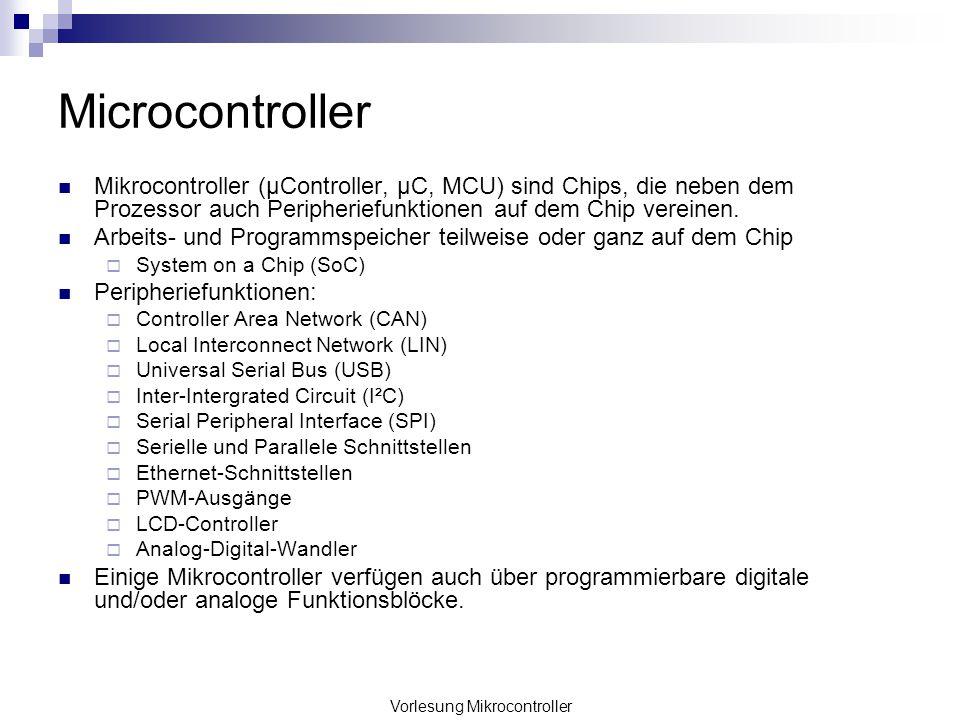 Vorlesung Mikrocontroller Microcontroller Mikrocontroller (µController, µC, MCU) sind Chips, die neben dem Prozessor auch Peripheriefunktionen auf dem