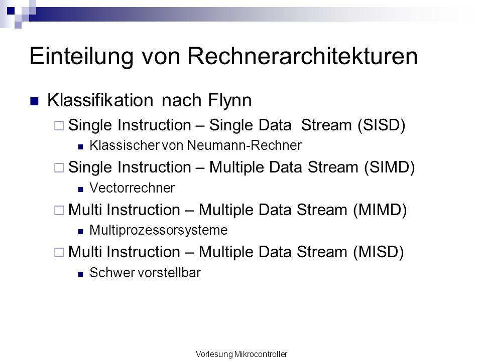 Vorlesung Mikrocontroller Einteilung von Rechnerarchitekturen Klassifikation nach Flynn Single Instruction – Single Data Stream (SISD) Klassischer von