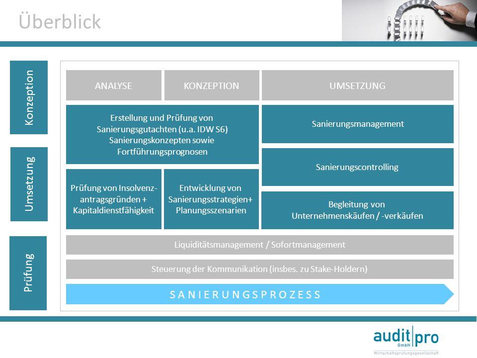 Prüfung Umsetzung Konzeption Überblick ANALYSEKONZEPTIONUMSETZUNG Liquiditätsmanagement / Sofortmanagement Steuerung der Kommunikation (insbes. zu Sta