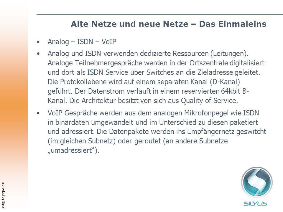 a product by Siyusl Alte Netze und neue Netze – Das Einmaleins Analog – ISDN – VoIP Analog und ISDN verwenden dedizierte Ressourcen (Leitungen). Analo