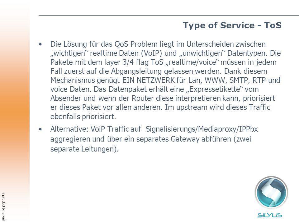 a product by Siyusl Type of Service - ToS Die Lösung für das QoS Problem liegt im Unterscheiden zwischen wichtigen realtime Daten (VoIP) und unwichtigen Datentypen.