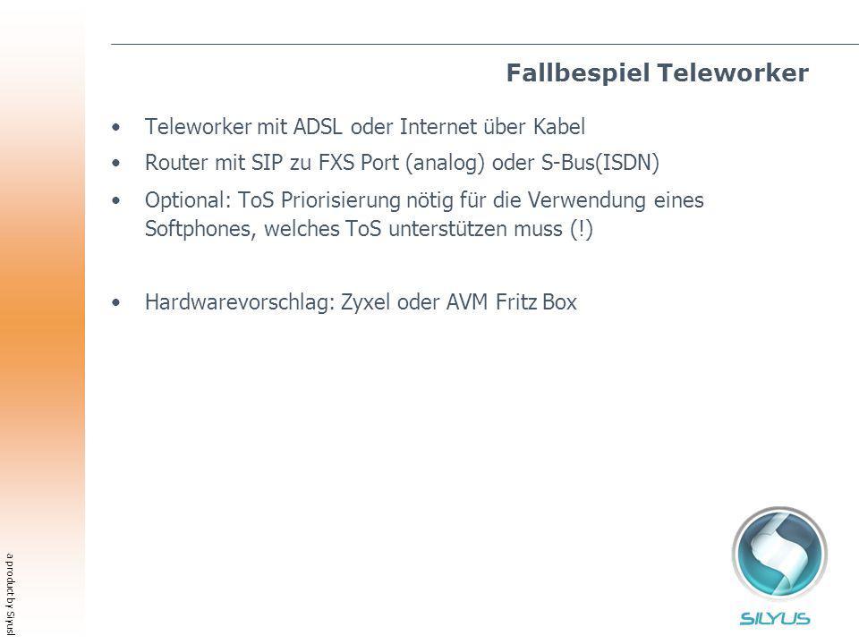 a product by Siyusl Fallbespiel Teleworker Teleworker mit ADSL oder Internet über Kabel Router mit SIP zu FXS Port (analog) oder S-Bus(ISDN) Optional: ToS Priorisierung nötig für die Verwendung eines Softphones, welches ToS unterstützen muss (!) Hardwarevorschlag: Zyxel oder AVM Fritz Box